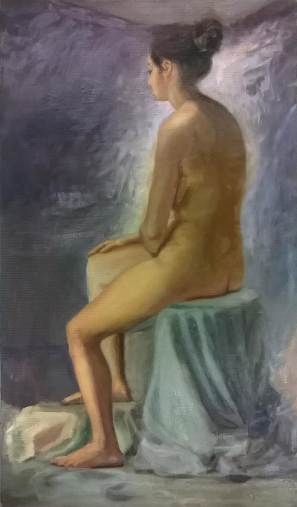 Figure painting. Oil on hardboard. 2015.