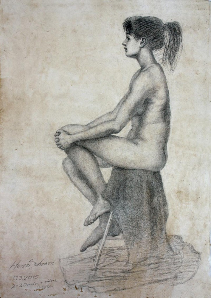 Live model drawing. Charcoal on paper. 2015.