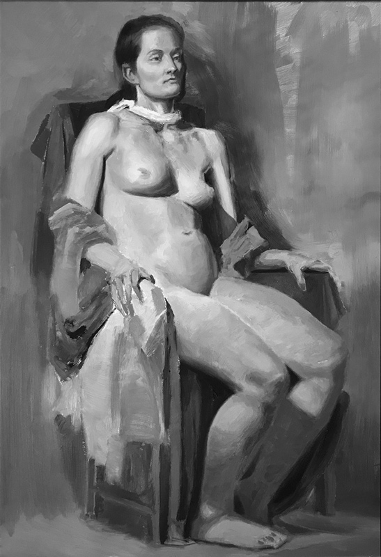Grisaille figure painting, student/assistant work at Hera Atelier 2018