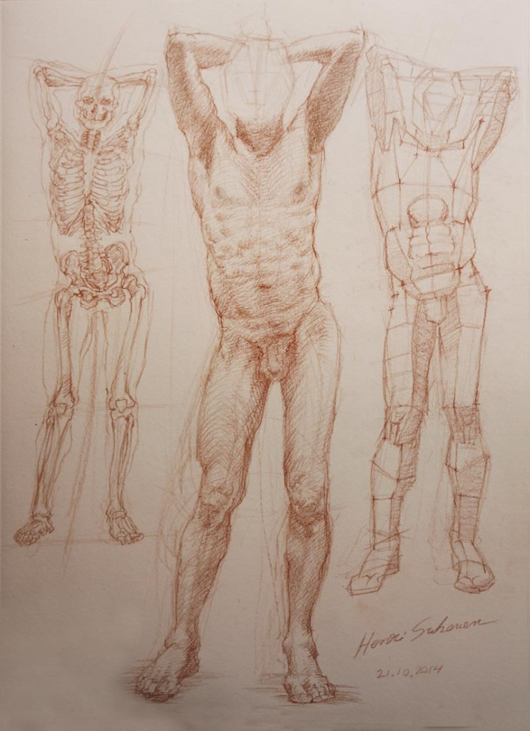 Red pencil on paper, 2014